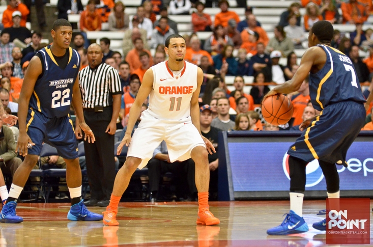 Tyler on defence at Syracuse facing the Ryerson Rams